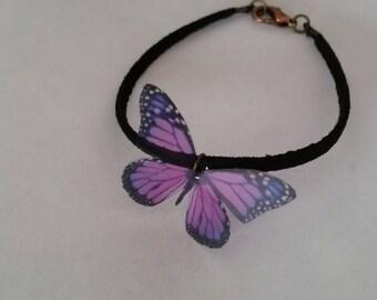 Bracelet leather suede tie effect transparent color purple