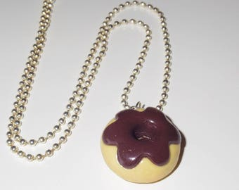 Chocolate icing Donut necklace