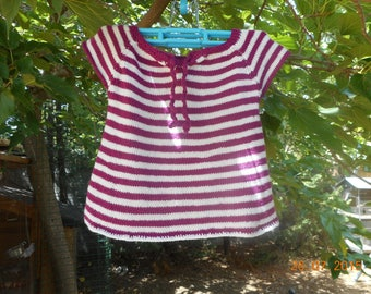 """dress striped """"Purple and white"""" for baby 6 months short sleeves."""