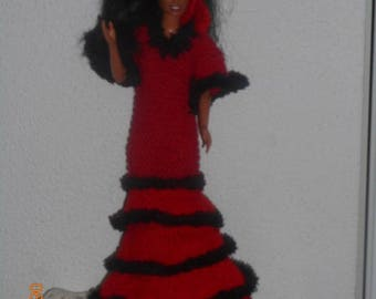 """""handmade knit""clothes for doll, .barbie."" Spanish dress"""