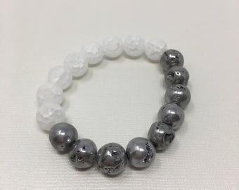 Matte white and silver druzy beaded bracelet