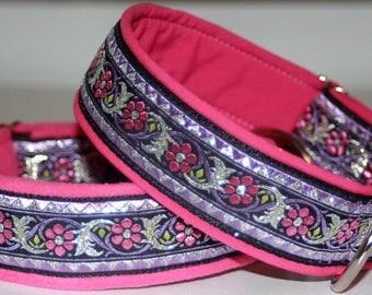 "Dog Collar ""Metal flowers""Jacquard Ribbon Elegant Design Pet Jewellery"