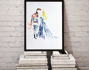Original Disney Art Print Sleeping Beauty Illustration by Artist Tas Kreations Watercolour/Ink Effect Aurora and Prince Phillip
