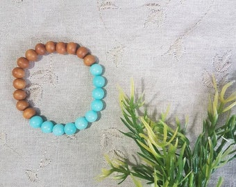 The Balance Bracelet~Amazonite; White Sandalwood; Mala