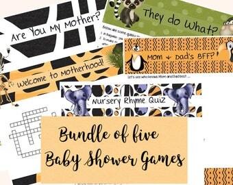 Baby Shower Games; Zoo Baby Games; Wild Animal Baby Shower Games; Baby Games; Shower Games; Game Bundle; Baby Shower Game Bundle;