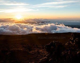 Original Sunset Photography Print - Maui, Hawaii - Landscape Photography - Haleakala Crater Photo - Sunset Travel Photography - Home Decor