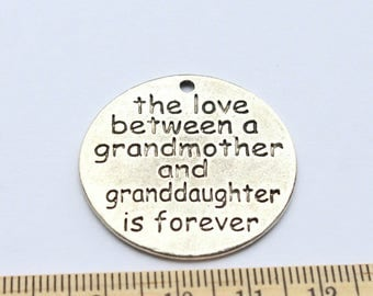 2 Grandmother Charms - the love between a grandmother and granddaughter is forever Antique Silver - EF00177