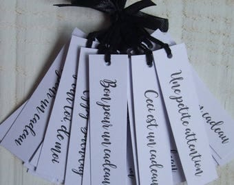 Set of 25 Tags labels white gift box