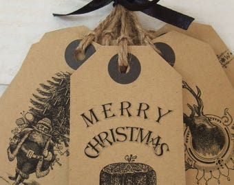 set of 10 Kraft Christmas tags