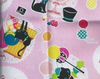 Fabric cats - Black cats background Rose (55 x 50 cm) 100% cotton patch