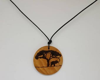 Jungle elephant wooden pendant - pyrography - woodburning - all natural - jewelry - necklace - wood - nature