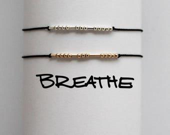 BREATHE |... .|. . .| | .... . Morse Code Bracelet - Hidden Message in Sterling Silver or 14K Gold - Just Breathe Deep - Inhale Exhale