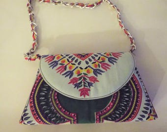 Party Time Off White African Dashiki Print Small Chain Strap Evening Bag