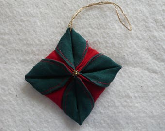 Christmas Ornament, Folded Green and Red Cotton Fabric