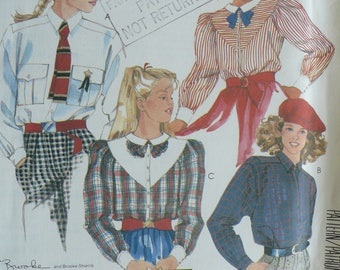 Girl's Shirt Pattern, Brooke Shields Signature Collection, Vintage McCalls, Size 14