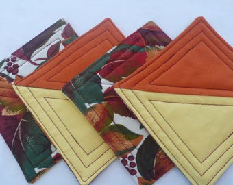Thanksgiving Quilted Coasters for Fall, Autumn, Housewarming Gift, Hostess Gift (set of 4)