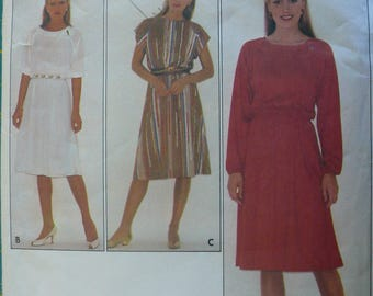 Women's Dress Pattern, Vintage Butterick 4199, Size 12
