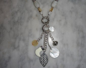 Vintage Long Silver Tone Avon Signed Nature Themed and Shell Charm Necklace Pendant