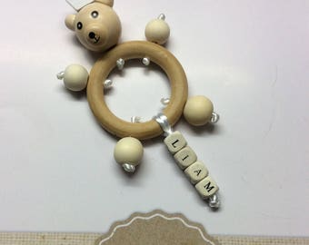 Personalized bear baby teething ring