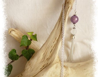 Necklace glass bead and purple miracle bead