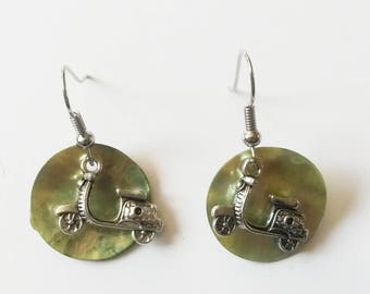 scooter charm and green sequin earrings
