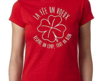 fairy woman t-shirt a greeting, 100% cotton, classic cut, Red