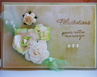 Card congratulations wedding Tulle and roses