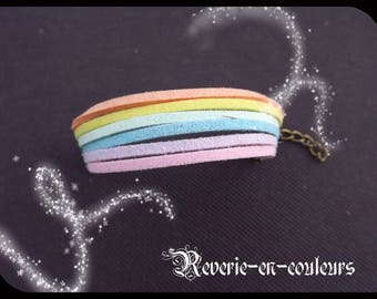 """""""Rainbow"""" multicolored suede Cuff Bracelet"""