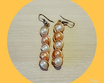 White orange earring with Pearl