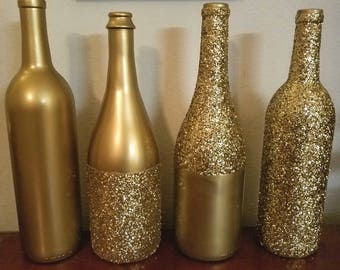 LOT OF 4 - Metallic GLITTER Sparkling Wedding Bridal Party Centerpiece Wine Bottles or Home Holiday decor Gold, Silver, Champagne, Rose Gold