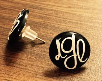 Monogrammed earrings. Your choice of personalization