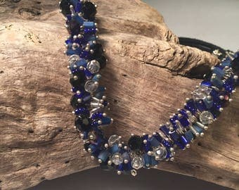 Crystal Beaded Charm/Pin Necklace Cobalt blue, black, and clear crystals and czech glass.