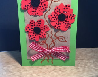 Hand made, individually crafted, authentic gift card with blank insert (comes with matching envelope)