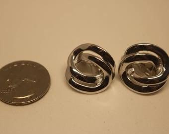 Monet Silver Clip On Earrings