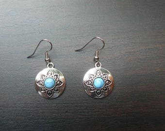 Earring ethnic elaborate antique silver turquoise