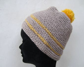 Pompom Hat mixed yellow and Mocha