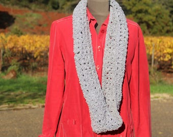 SNOOD GRAY KNIT SCARF SOFT CHENILLE