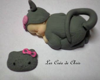 baby girl outfit cat polymer clay.