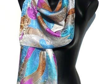 Scarf - silk scarf handpainted - crepe-satin - blue, white, fuchsia