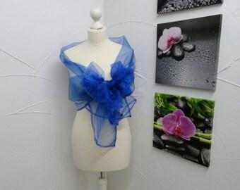 electric blue organza scarf or shawl