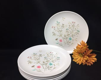 Sandwich/Salad plates Melmac Ovation by Westinghouse Floral Pink Turquoise  - set of 7
