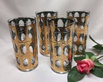Culver Pisa Tumblers Cocktail Glasses 22k Gold Green - set of 4