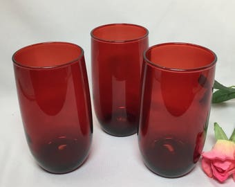 Royal Ruby Red Vintage Drinking Glasses Tumblers by Anchor Hocking - set of 3