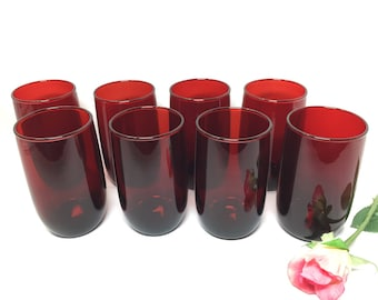 Small Tumblers or Juice Glasses Royal Ruby Red by Anchor Hocking - set of 8