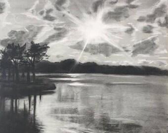 "Matted Fine Art Print ""Sunset on the Lake"""