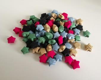 100 handmade glitter origami lucky stars
