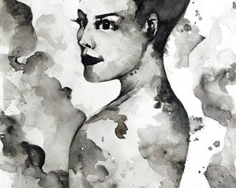 The lady in black aquarel