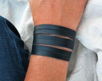Blue Cut Designer-Leather Bracelet