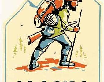 Vintage Style Alaska  Mountain Man   Hiker   1950's   Travel Decal sticker