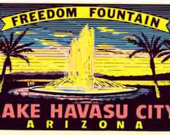 Vintage Style Lake Havasu City AZ Arizona    1950's   Travel Decal sticker